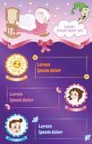 Baby vector template, cartoon kid flyer Stock Images