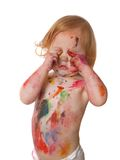 Baby in verf Stock Afbeelding