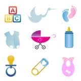 Baby verwante pictogramreeks Royalty-vrije Stock Afbeeldingen