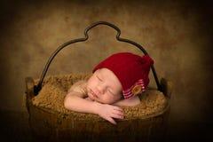 Baby in vintage bucket Stock Image