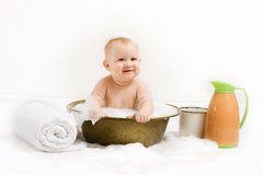 Baby in vintage tub Royalty Free Stock Photos