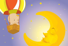 Baby visits moon Royalty Free Stock Image