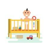 Baby in voederbak met speelgoed stock illustratie