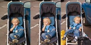 Baby waiting to travel Stock Photo