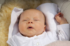 Baby waking up Stock Photos