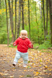 Baby Walk By Road In Forest
