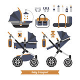 Baby walk set 1. Baby stroller transformer. Vector baby stroller set. Newborn stuff for walking. Things you need to transport the child and walks with a newborn Stock Photography