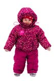 Baby walk by snow near winter park Stock Photo