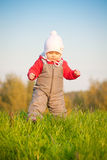 Baby walk on top of hill Royalty Free Stock Images