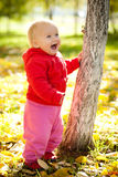 Baby Walk Under Trees In Park Stock Image