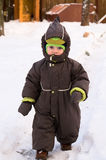 Baby walk at winter day Royalty Free Stock Image