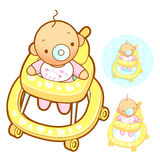Baby walker playing. Home and Family Character Design Series. Royalty Free Stock Photography