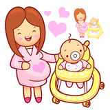 Baby walker playing. Marriage and Parenting Character Design Ser Stock Image