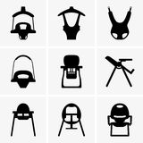 Baby walkers and chairs. Available in high-resolution and several sizes to fit the needs of your project Royalty Free Stock Image