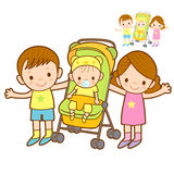 Baby walkers and family shots. Marriage and Parenting Character Stock Photo