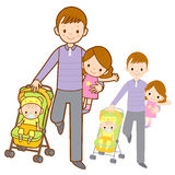 Baby walkers and family shots. Marriage and Parenting Character Stock Images
