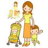 Baby walkers and family shots. Marriage and Parenting Character Royalty Free Stock Photo