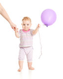 Baby walking with balloon closeup portrait Royalty Free Stock Photography