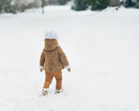 Baby walking in winter park . rear view Stock Images