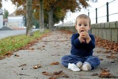 Baby on walkway Royalty Free Stock Image