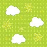 Baby wallpaper background. Seamless pattern of clouds and flowers vector background Stock Photo
