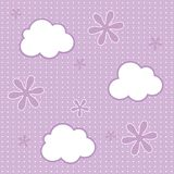 Baby wallpaper background. Seamless pattern of clouds and flowers vector background Stock Images