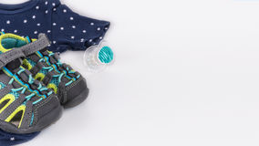 Baby clothes with white background stock images