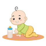 Baby Wants her Bottle of Milk. A happy baby crawling seeking his milk bottle stock illustration