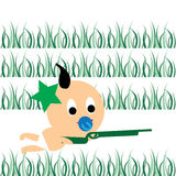 Baby war. Cute baby playing war game on the grass Royalty Free Stock Images