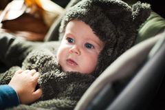 Baby in warm clothes Stock Photos