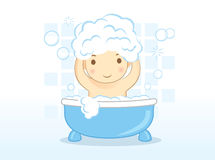 Baby washes hair Stock Images