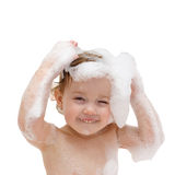 Baby is washing her hair Royalty Free Stock Images