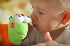 Baby watching for plush toy Royalty Free Stock Images