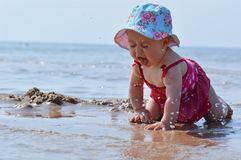Baby in water at sea Royalty Free Stock Images