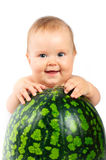 Baby with a watermelon Stock Photography