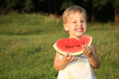 Baby with watermelon Royalty Free Stock Photo