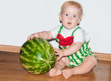 Baby and watermelon. Little baby boy and watermelon - sitting Stock Photography