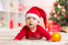 Baby weared santa clothes Royalty Free Stock Photos