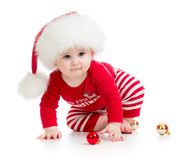 Baby weared santa clothes isolated Stock Photos