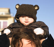 Baby Wearing Bear Coat Royalty Free Stock Photography