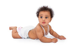 Baby Wearing Bloomers and Pearl Necklace Stock Photos