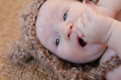 Baby Wearing Brown Knit Hat Stock Photography