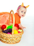 Baby wearing a costume of a squirrel Royalty Free Stock Photography