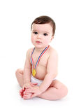 Baby wearing medal Royalty Free Stock Photography