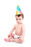 Baby wearing party hat Royalty Free Stock Image