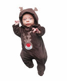 Baby wearing reindeer sleepy Royalty Free Stock Photo