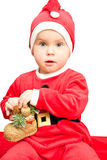 Baby wearing Santa suit Stock Image