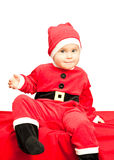 Baby wearing Santa suit Royalty Free Stock Image