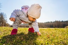 Baby wearing warm beanie hat, sweatshirt and red boots outdoors in rural area discovering nature in spring, sunny day. Baby wearing warm beanie hat, sweatshirt stock photos