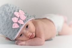 Baby wearing wool cap Stock Images